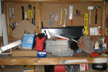 the next task in my basement project was to clean up our tool bench