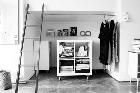 The Rolling Bookcases Not Only Hold Her Clothes, But Also Her Hobby  Supplies (such As The Sewing Machine And Fabric Stash Pictured Above) And  Other ...