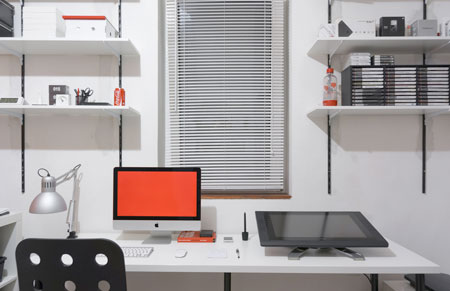 whether aware of it or not home office is a wonderful minimalist homage to either piet mondrian andor roger black the simple color palette