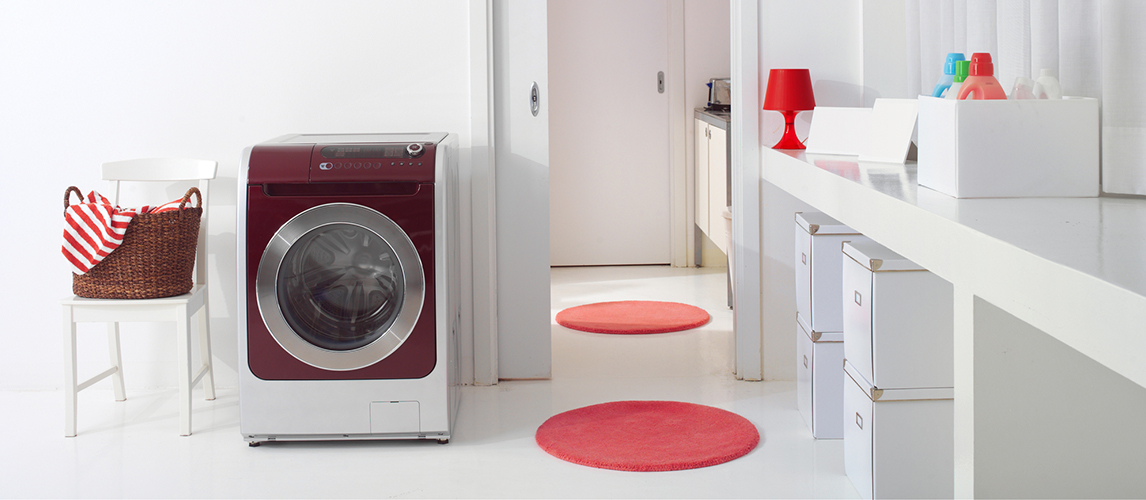 Laundry room with washer dryer machine