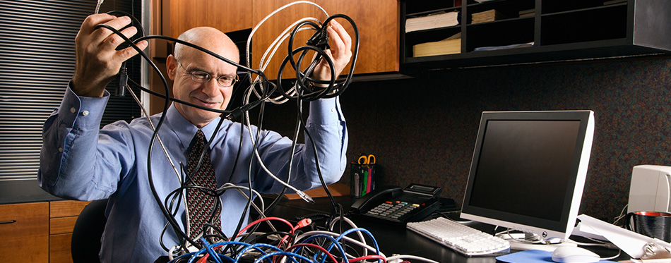 Man organizing the cables