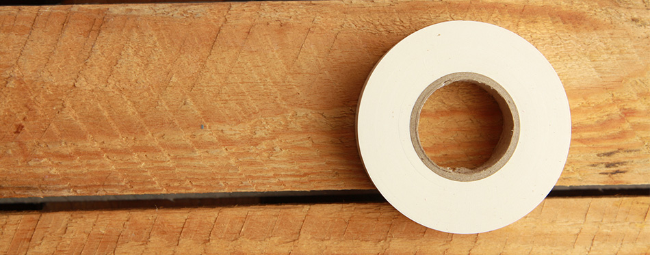 White plastic insulating tape