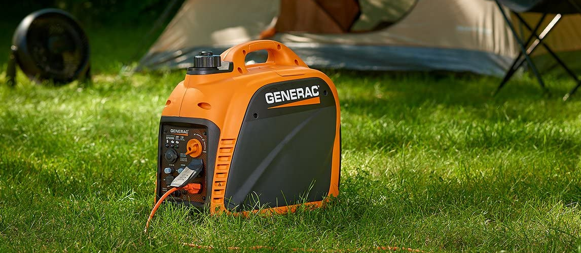 power generator in front of a tent