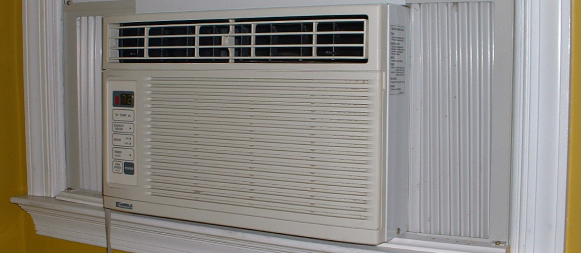 small window air conditioner installed