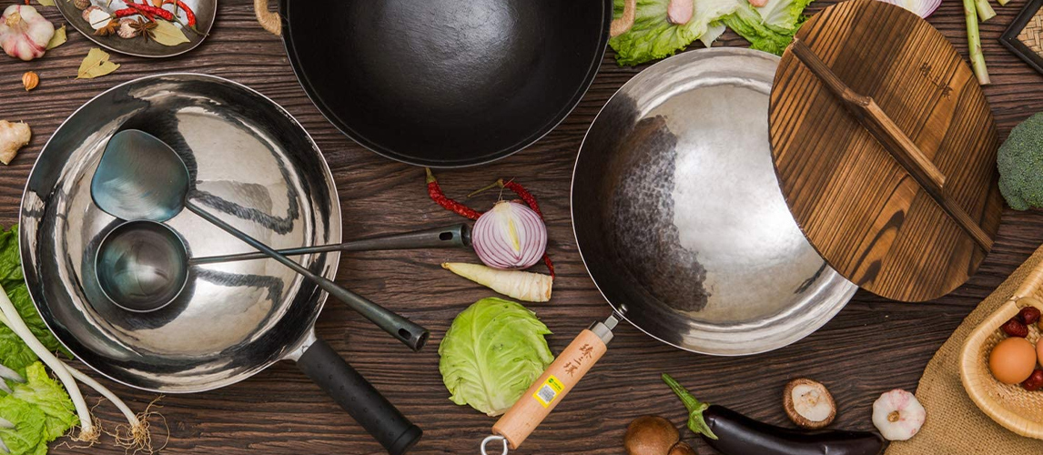 wok on kitchen table